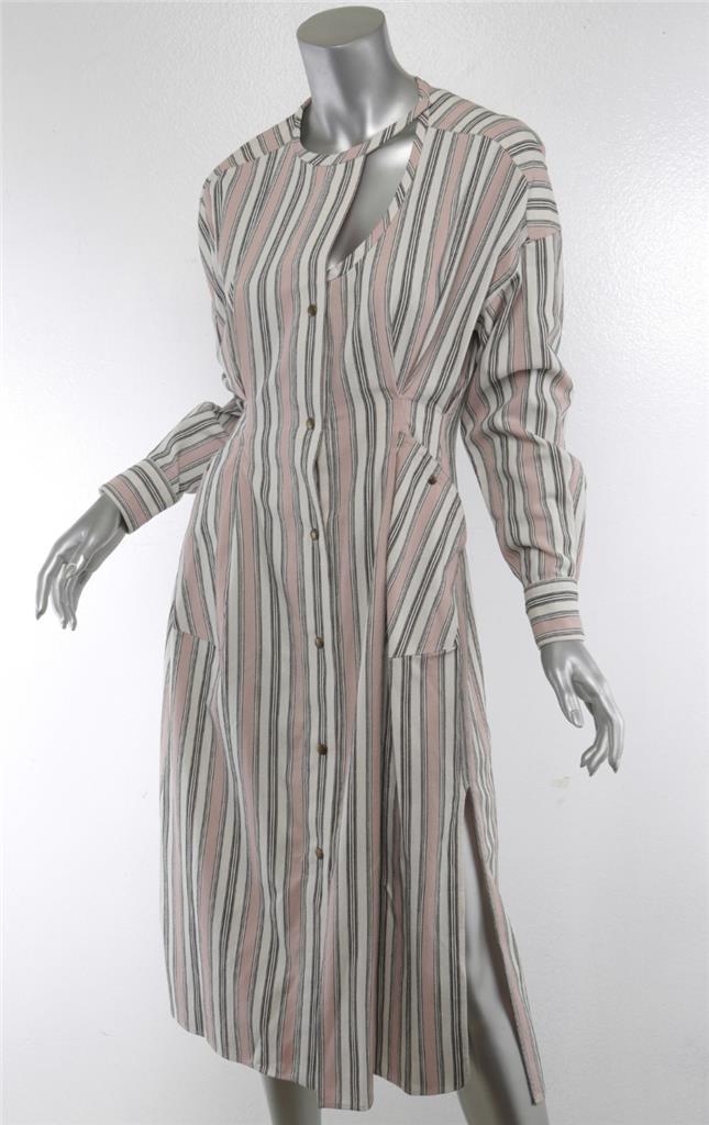 Details About Isabel Marant Womens Pink White Striped Cotton Asymmetric Midi Jacket Dress 6 38