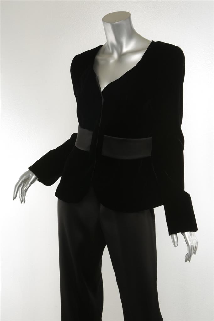 d5517e17da Details about GIORGIO ARMANI Womens Black Velvet Satin Silk Belted V-Neck  Pant Jacket Suit 40