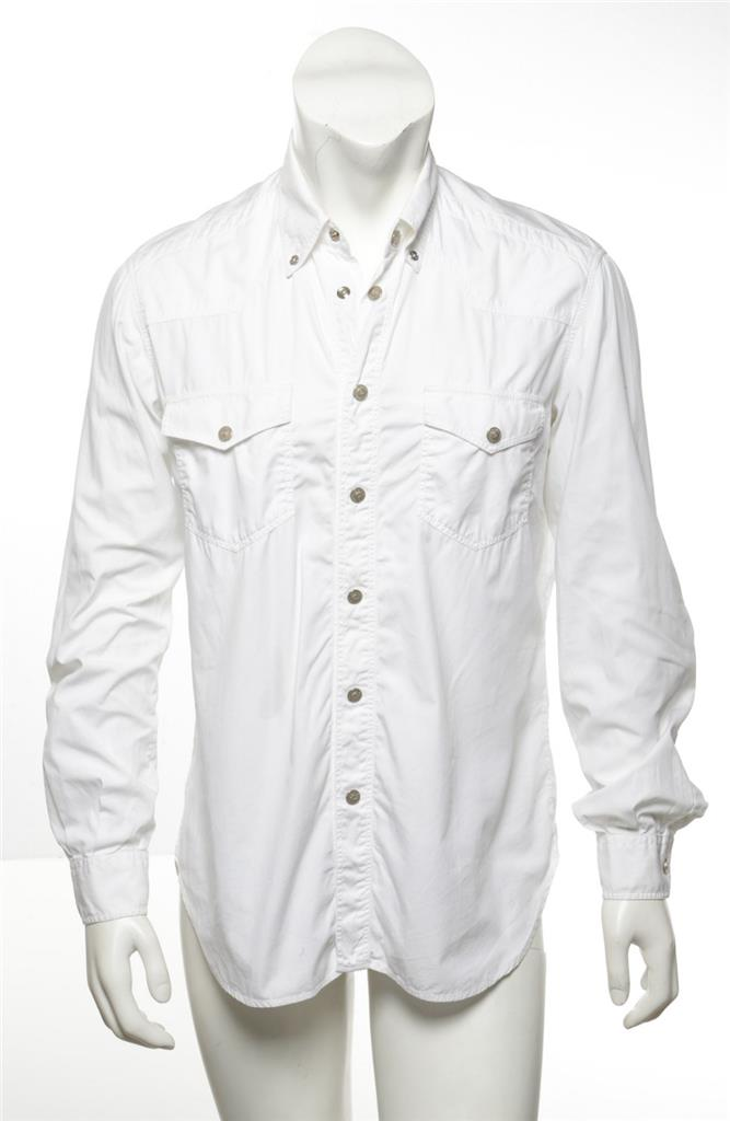 9eed2c9ef Details about VERSACE Jeans White Double Pocket Snap-Front Logo Button Long  Sleeve Shirt L