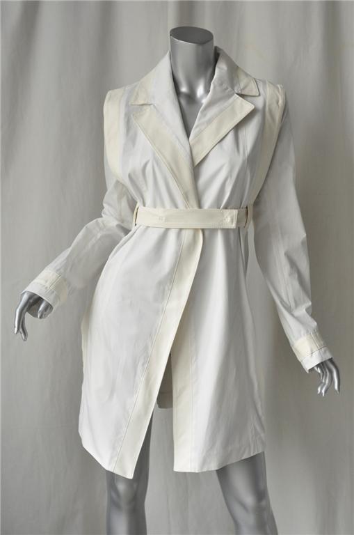 LOEWE White Cotton Leather Trench Coat Jacket M-42*NEW* | eBay