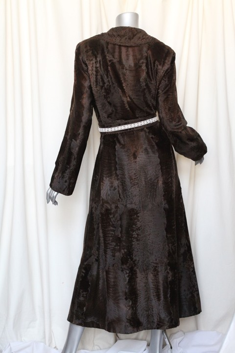 Dennis Basso Saks Brown Russian Broadtail Lamb Fur Long Belted Coat