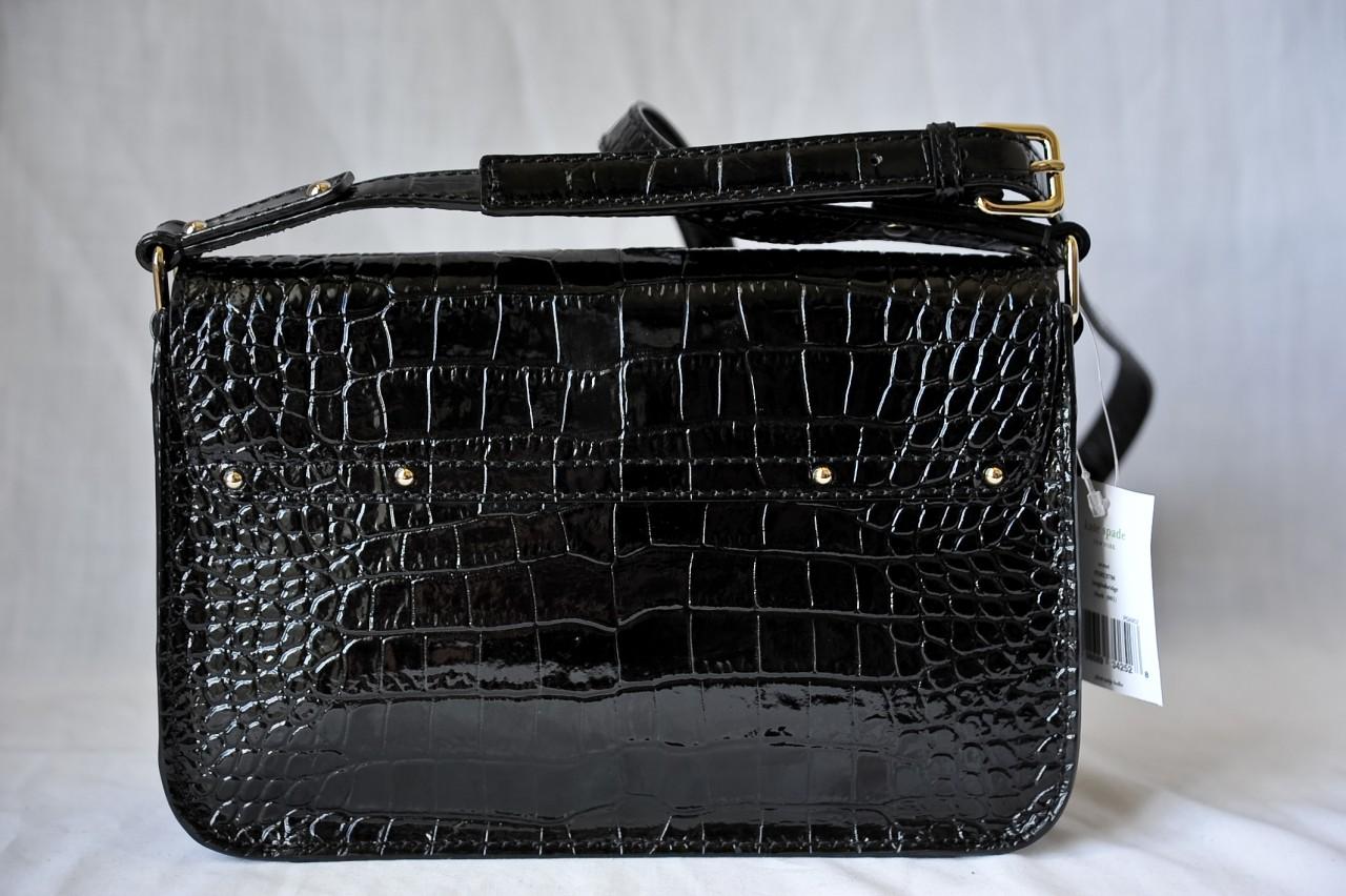 KATE SPADE Black Crocodile Embossed Croc Scout Crossbody Bag Handbag