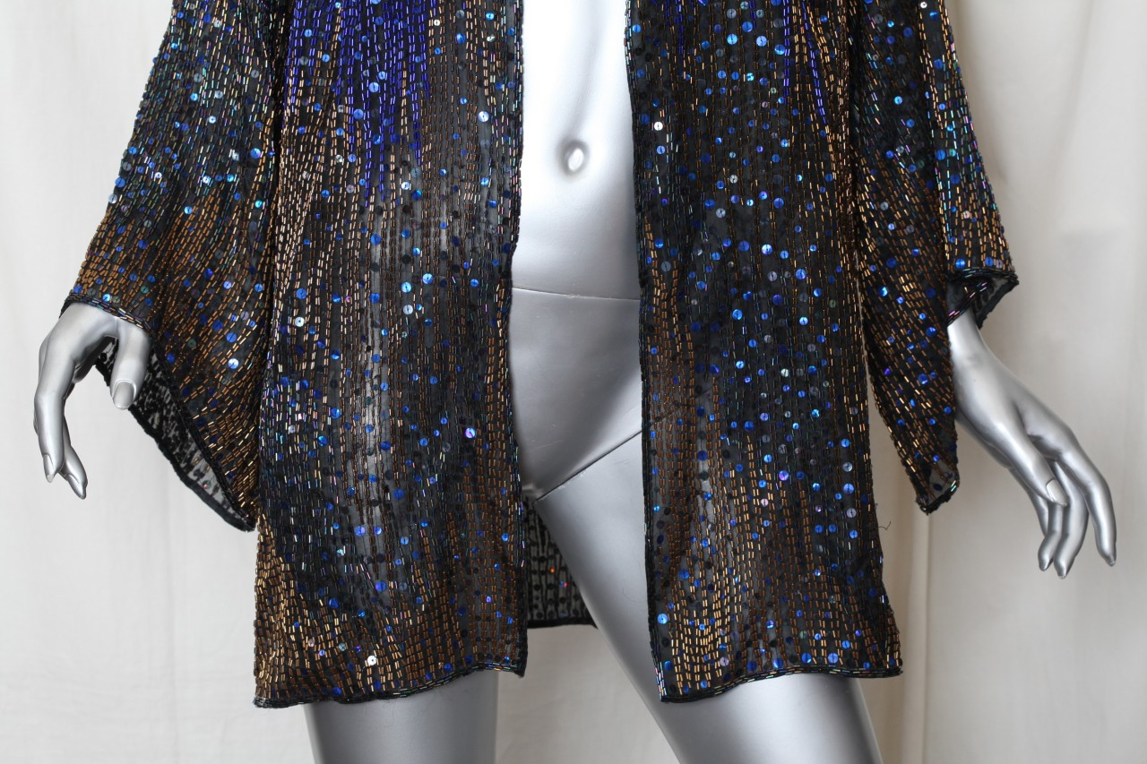 Halston Womens Vintage Beaded Sequin Evening Blouse Jacket