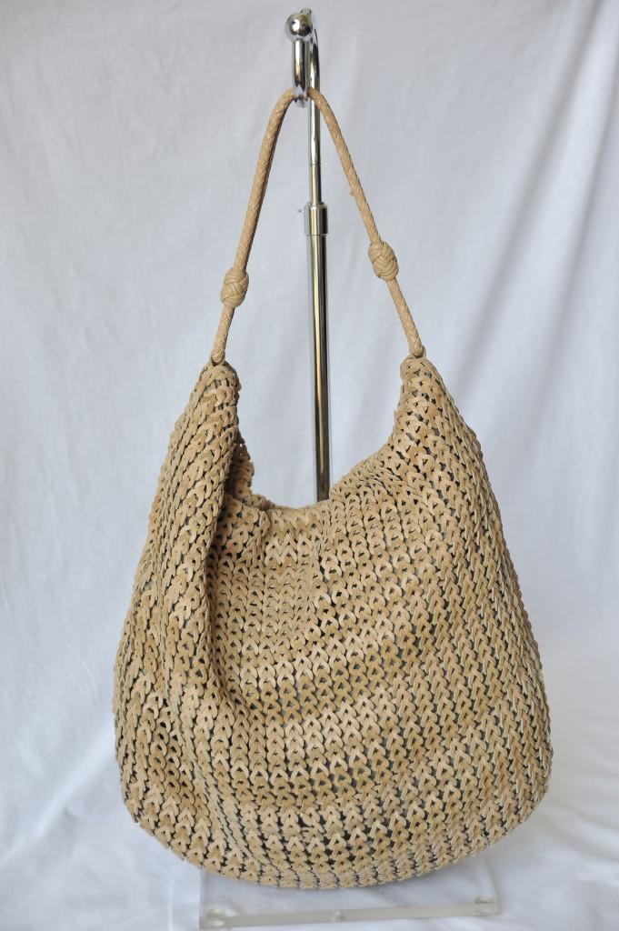 Missoni Slouchy Boho Hobo Crochet Knit Woven Leather