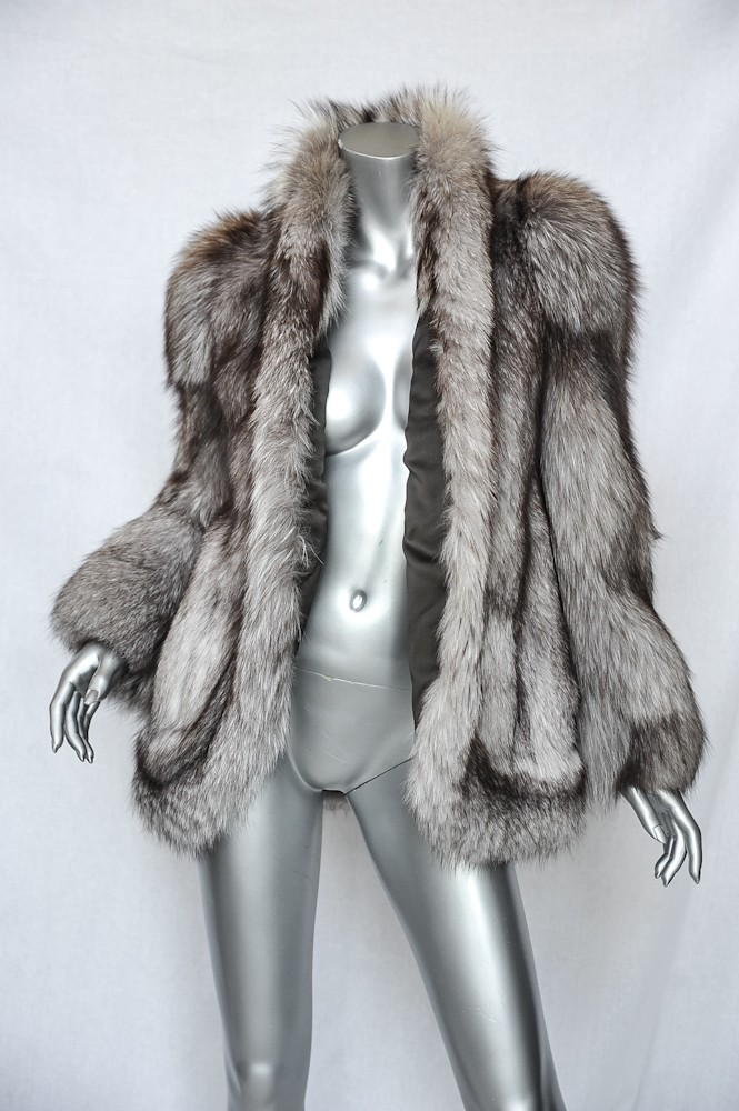 SAKOWITZ Brown White Grey GENUINE Fox FUR Coat Jacket M&L ...