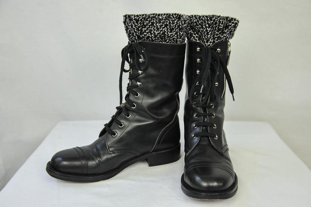 Chanel Womens Black Combat Tweed Army Military Short Heel