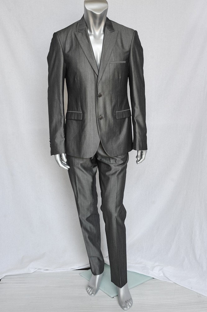 Calvin Klein Collection Mens Metallic Steel Grey Silk