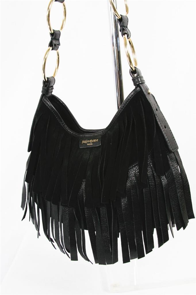 Yves Saint Laurent Black Suede Leather Hobo Fringe
