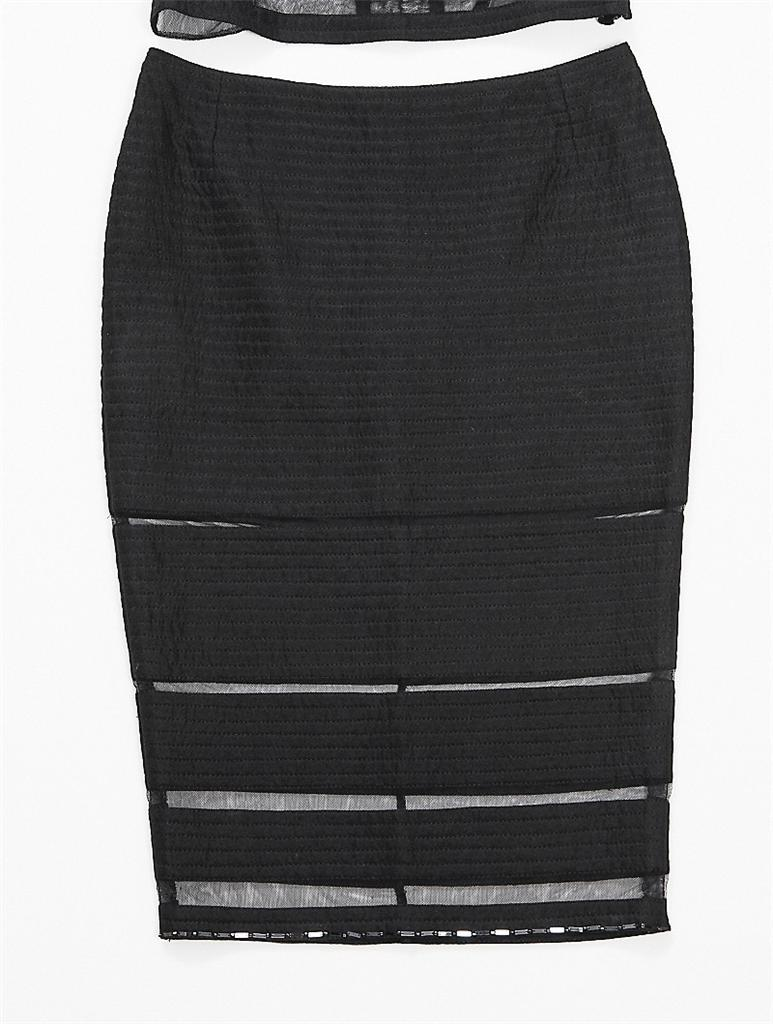 d2573f410189b3 Details about GIANNI VERSACE COUTURE Womens Black Cropped Top Pencil Skirt  2-Piece Outfit 2 4