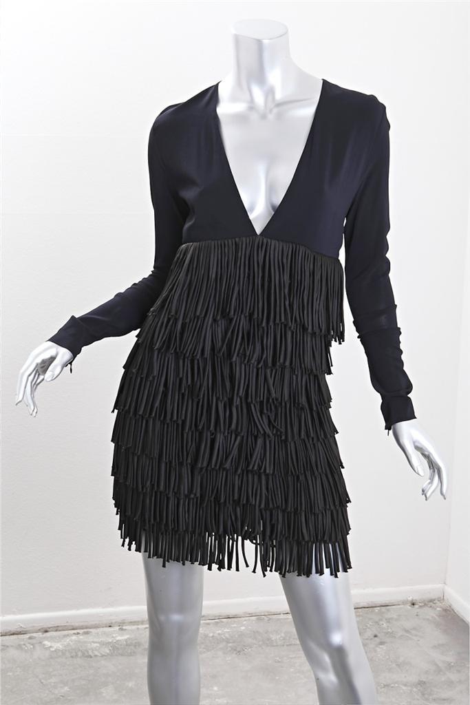 Pierre Balmain Womens Fringe Black Long Sleeve V Neck Mini Dress 24