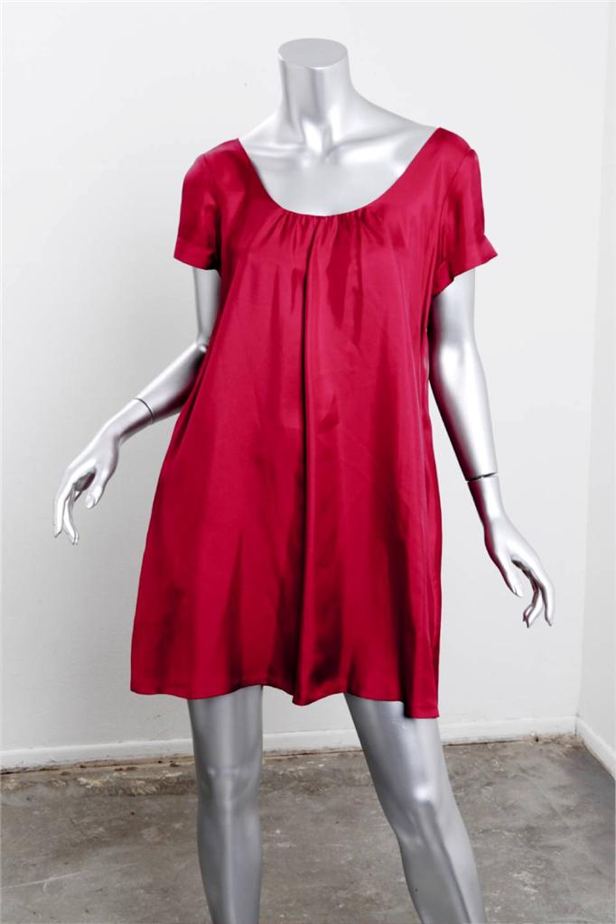bcaf46bc7373 Details about GRAHAM   SPENCER Womens Raspberry SILK Short Sleeve Above  Knee Short Dress S