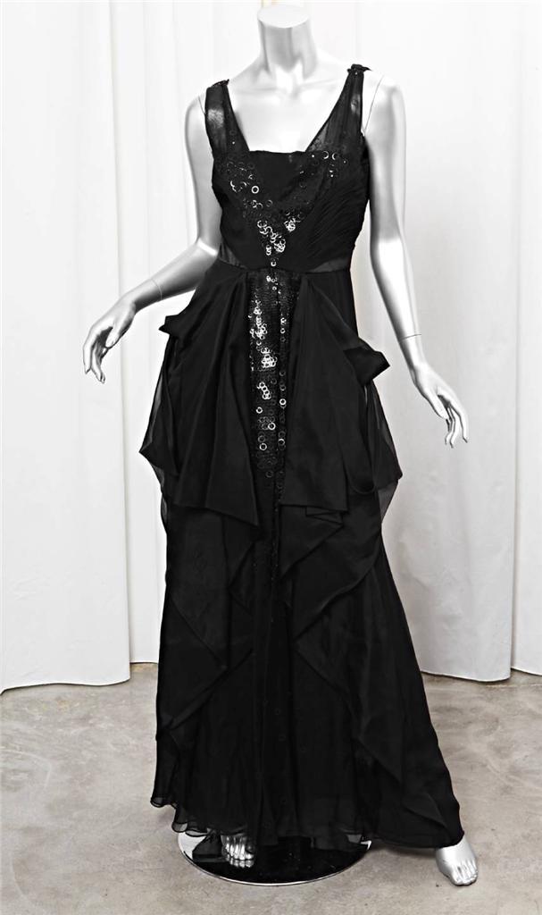 VALENTINO Black Silk Organza Sleeveless Sequin A-Line Formal Gown ...