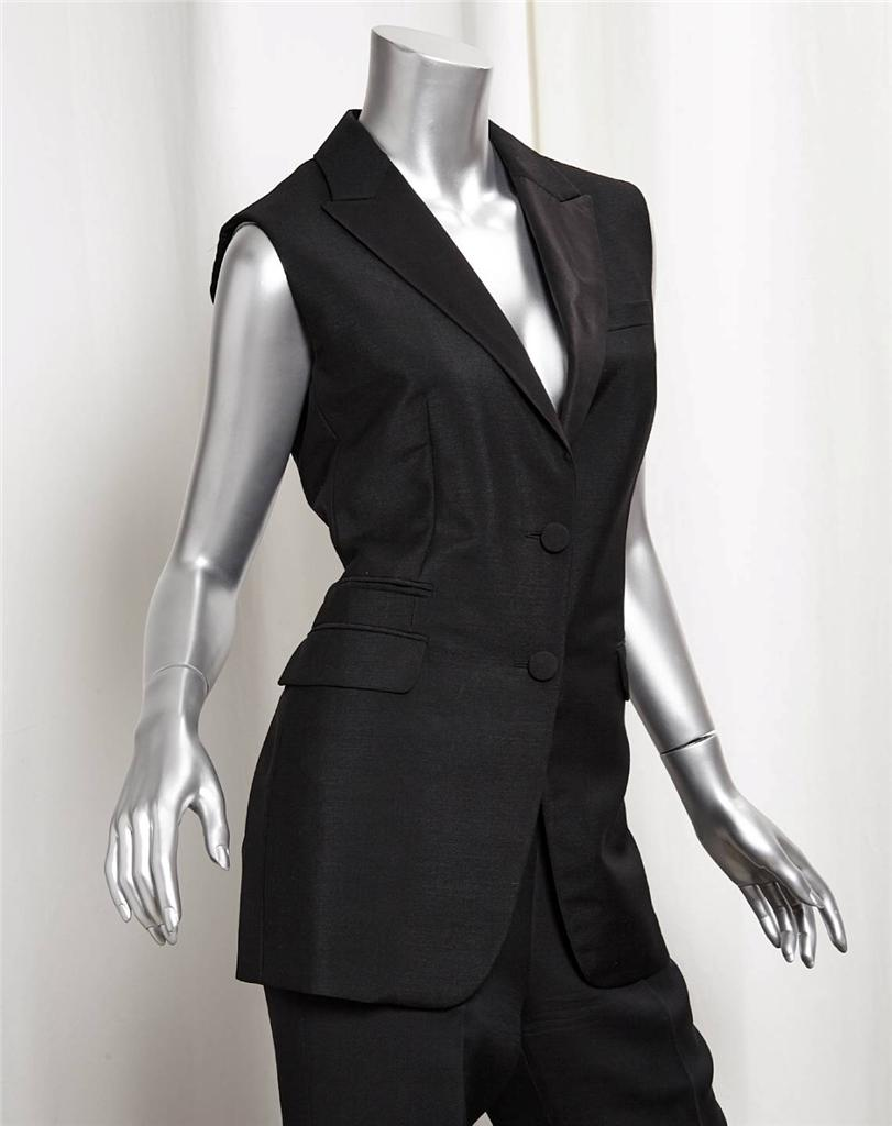 PRADA Black Womens Wool Sleeveless Jacket Vest+Straight ...