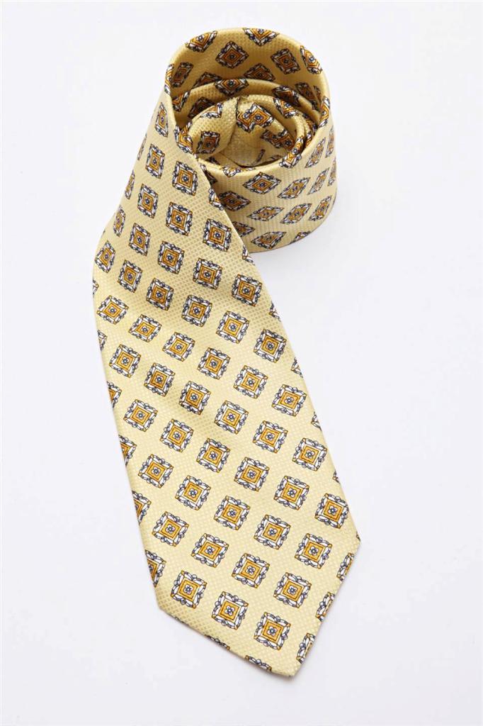New BRIONI Ochre Brown With Geometric Pattern 100/% Silk Neck Tie $230