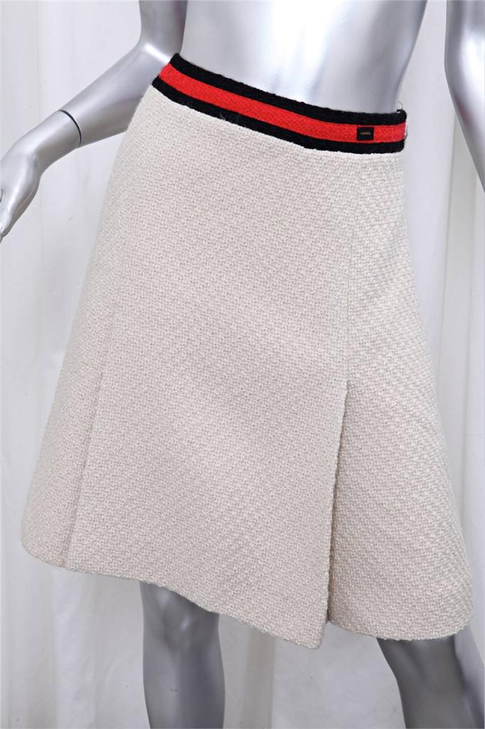 Chanel 01a womens ivory red stripe wool tweed jacket skirt for I see both sides like chanel shirt