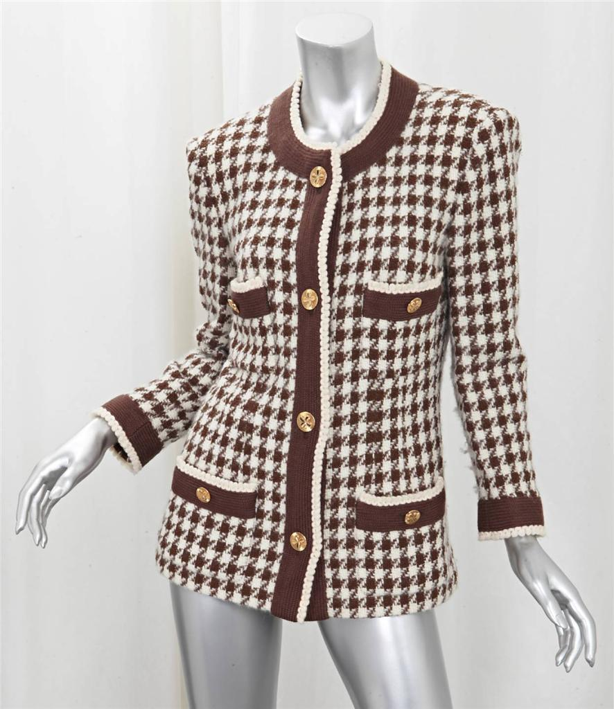 Chanel Womens Classic Brown Cream Houndstooth Tweed Long
