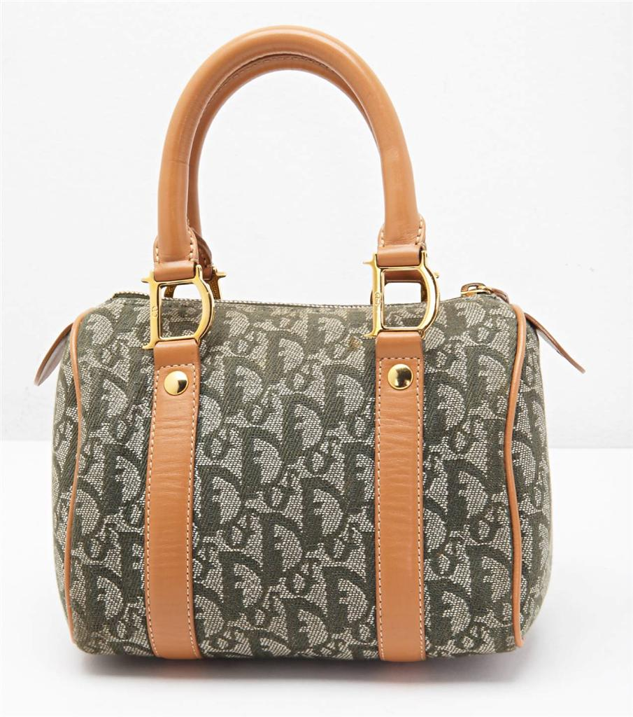 CHRISTIAN DIOR Green Monogram Canvas DIORISSIMO Top-Handle ...