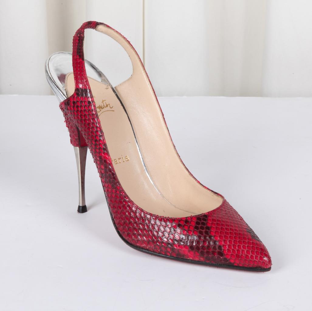 best website 35448 870ff Details about CHRISTIAN LOUBOUTIN Womens Red Snakeskin+Silver High-Heel  Slingback Pump 10-40