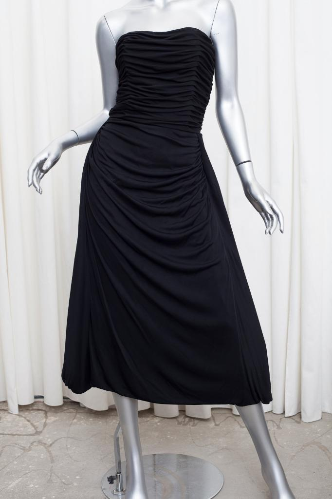 79969f84a4ba Details about BALENCIAGA Womens Black Ruched Strapless A-Line Tea-Length  Dress 38/6 S