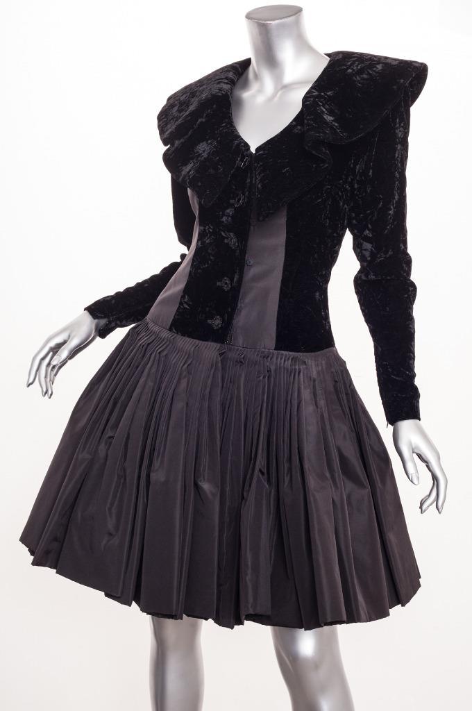 Galanos Vintage Womens Black Taffetavelvet Long Sleeve Fitflare