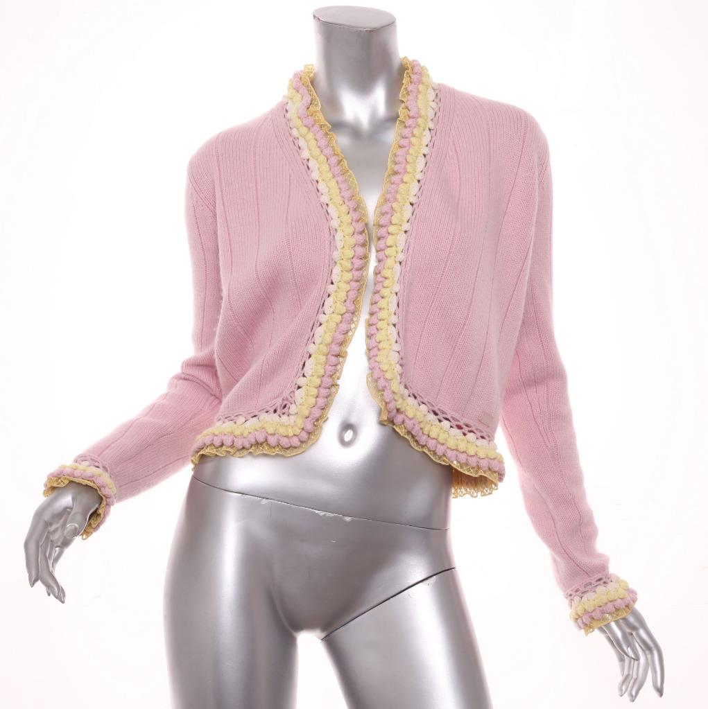 dc3d81428f Details about CHANEL 04C Womens Pink Cashmere+Cotton Yellow Lace Trim Cardigan  Sweater 38 6 S