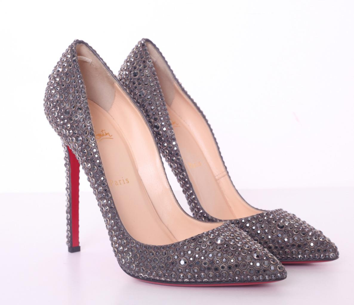 7df79c3c2c1 Details about CHRISTIAN LOUBOUTIN Gray Crystal PIGALLE 120mm High Heel Pump  10-40 NEW