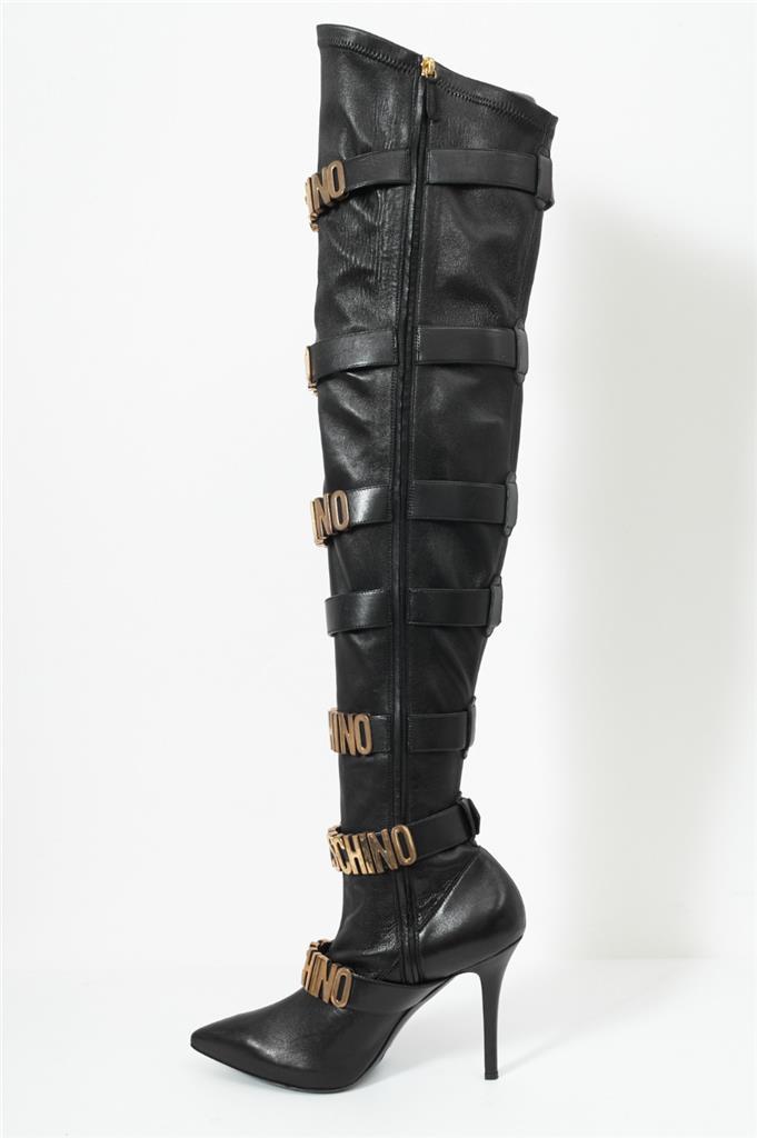 Neu Schnalle Details 9 Moschino Overknee Runway Logo Leder Schwarzes Stiefel Kult Zu 39 rtQhdsC
