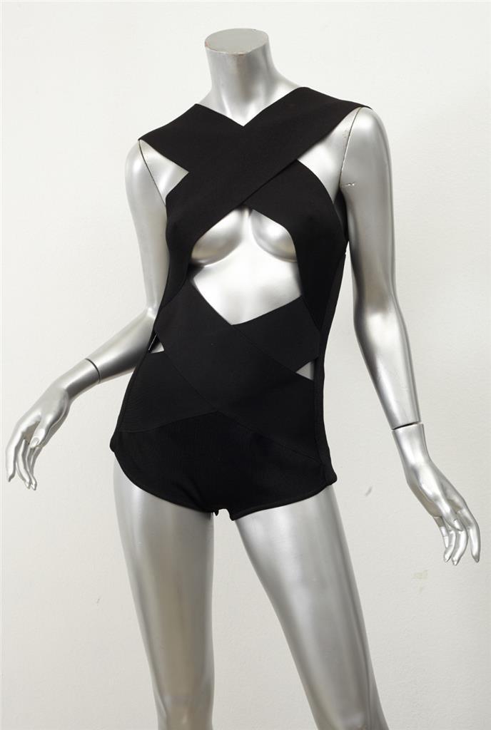 e94bb1fa68f BALMAIN RUNWAY Black Bandage Bodycon Cage Crossover Cutout Bodysuit ...