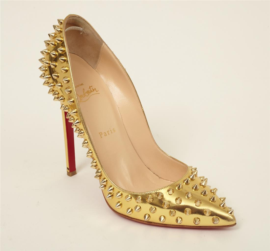 separation shoes e0be6 bd0f2 Details about CHRISTIAN LOUBOUTIN Gold PIGALLE SPIKES 120 Studded High-Heel  Pump 8.5-38.5
