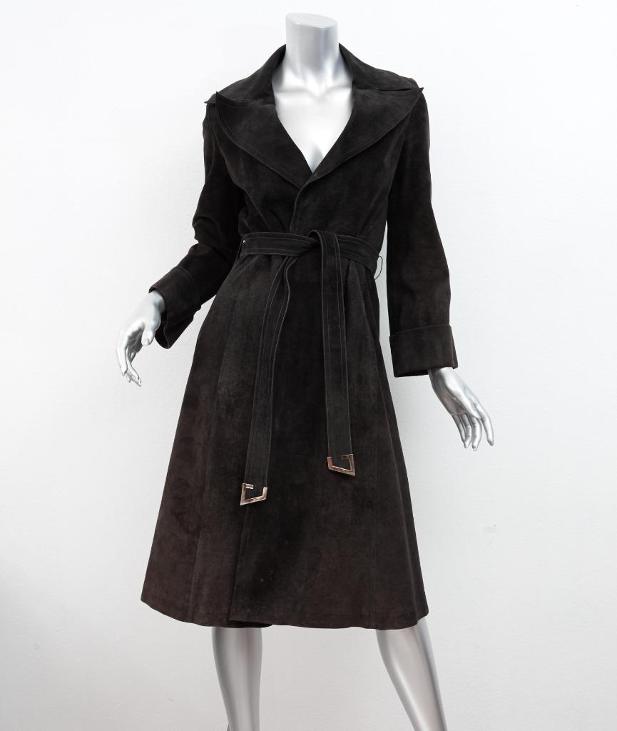 Details about GUCCI Womens VINTAGE Black / Brown Suede Long,Sleeve Belted  Trench Coat Jacket S