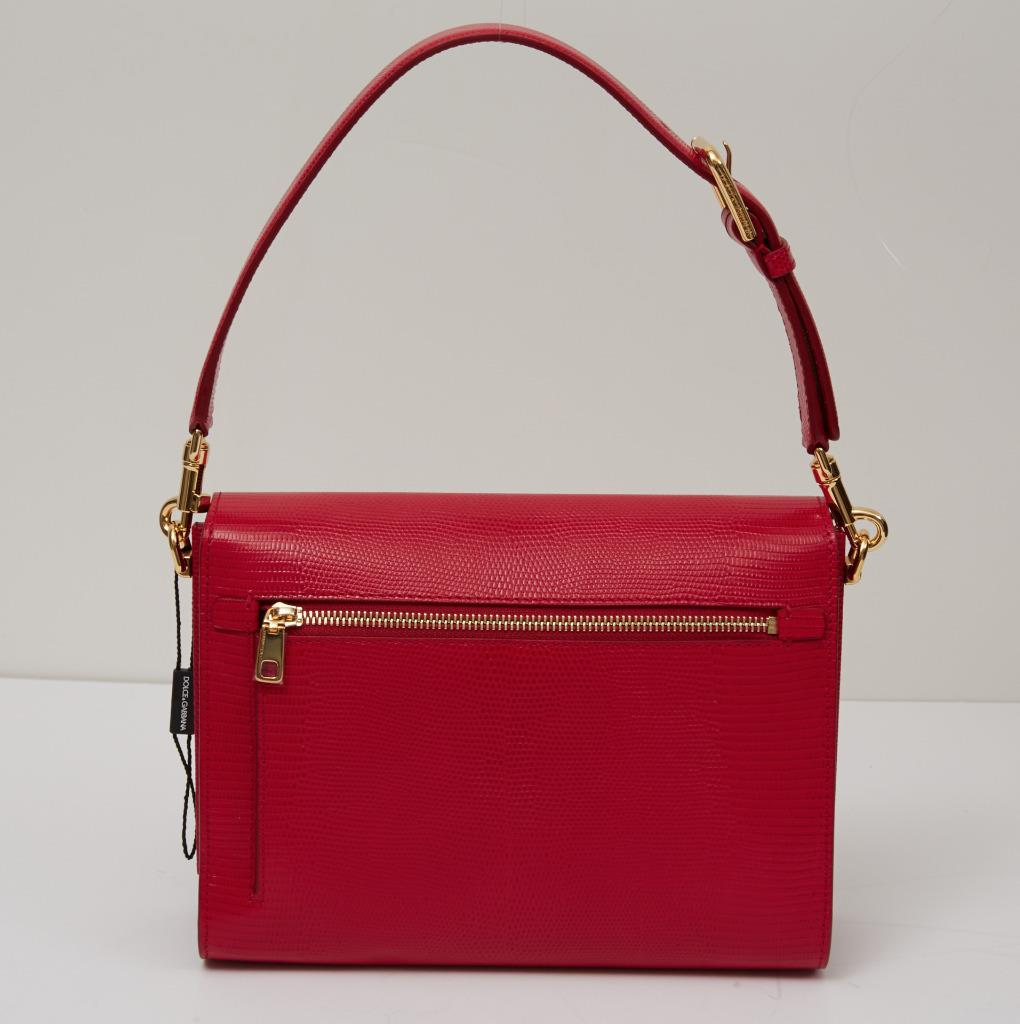6f3cf7c915 DOLCE   GABBANA  2995 CURRENT Red Medium LUCIA Lizard Embossed BEE ...
