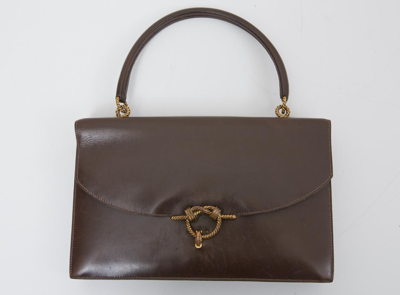 Details about HERMES VINTAGE Dark Brown Leather Flap Top Handle Accordian Bag Handbag Purse