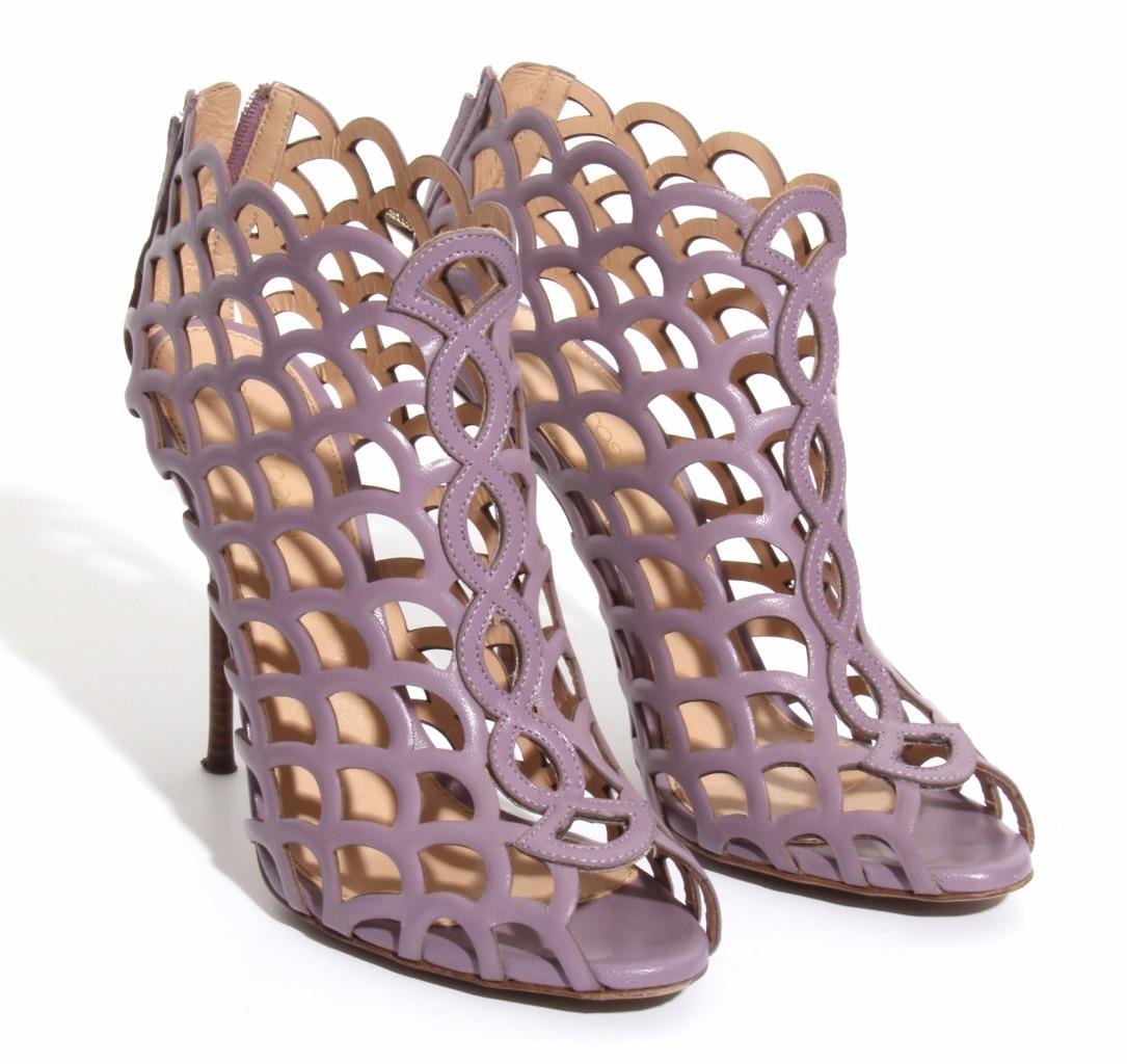 Dettagli su Sergio Rossi Donna Mermaid Cage Lilac Leather Tacco Alto Décolleté Ankle Boots