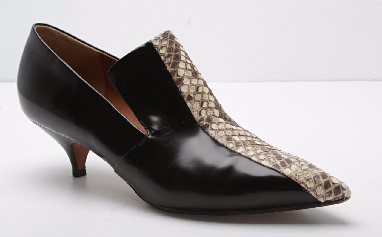 CELINE Womens Black Leather & Snakeskin Pointed Toe Kitten Heel Pumps 9-39