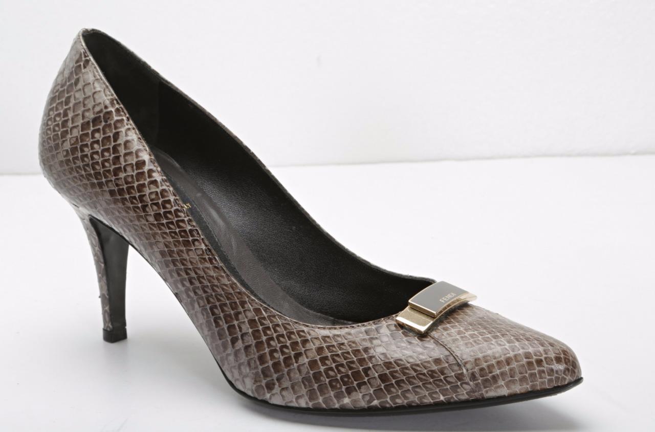 FENDI Womens Taupe-Brown Snakeskin LOGO Pointed-Toe High Heel Pumps 9.5-39.5