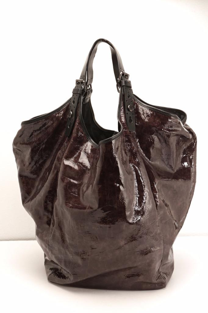 df39adb34d Details about GIVENCHY Brow Gray Soft Patent Leather XL Shoulder Bag Handbag  Travel Hobo