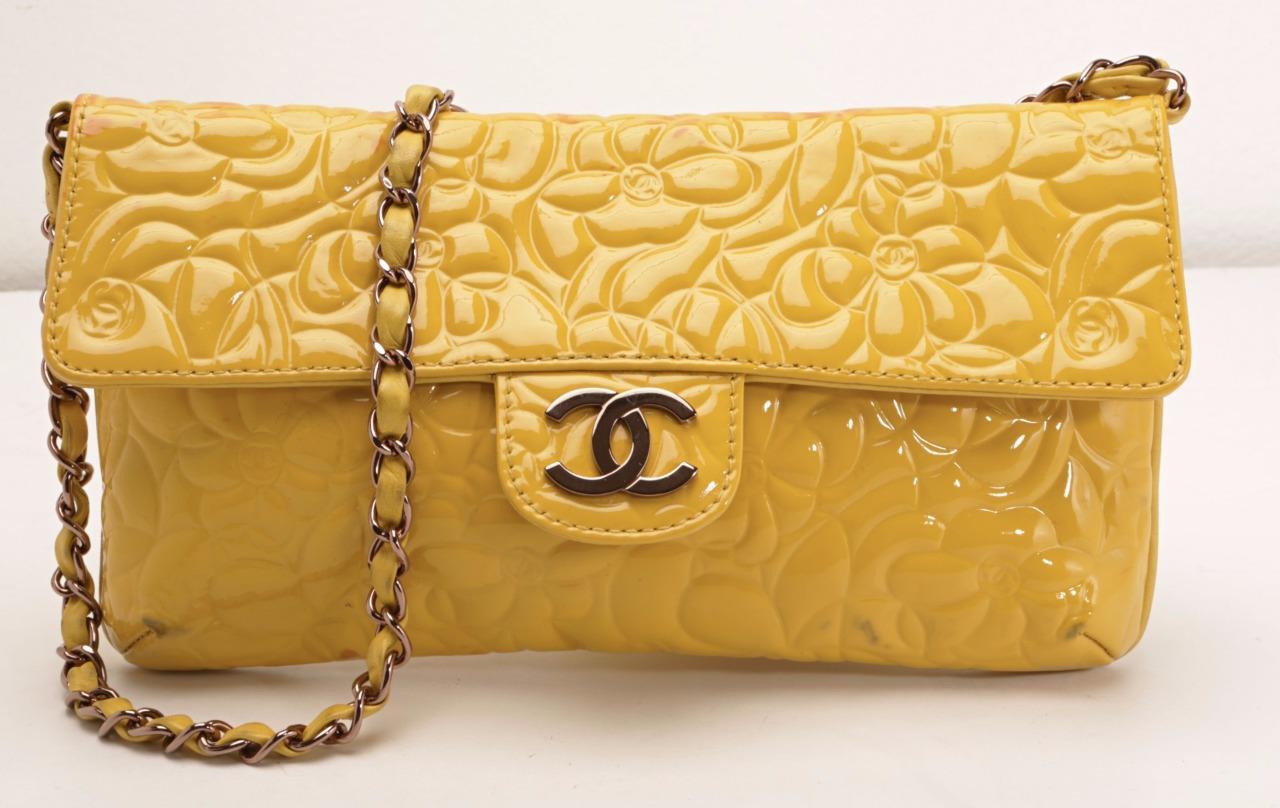 4f574cd98cec Details about CHANEL Patent Yellow Camellia Flap Bag Chain CC LOGO Clutch Handbag  Purse