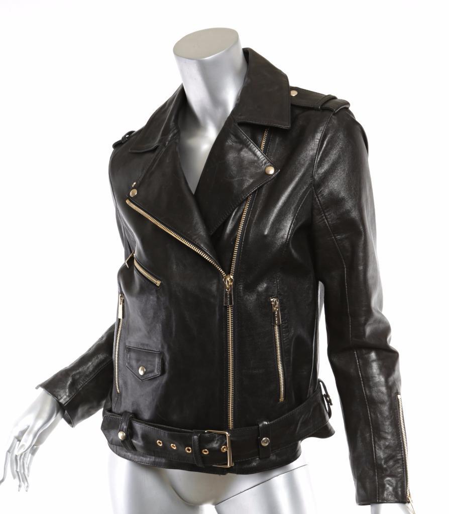 Anine Bing Womens Classic Black Leather Moto Motorcycle Jacket Coat