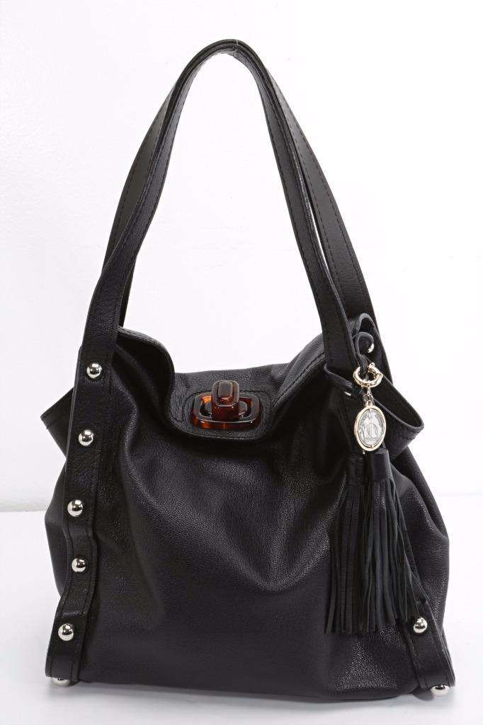 9ec2b2143 Details about LANVIN Black Leather Silver Studded Tassel Tote Shoulder Bag  Purse Retail $3500