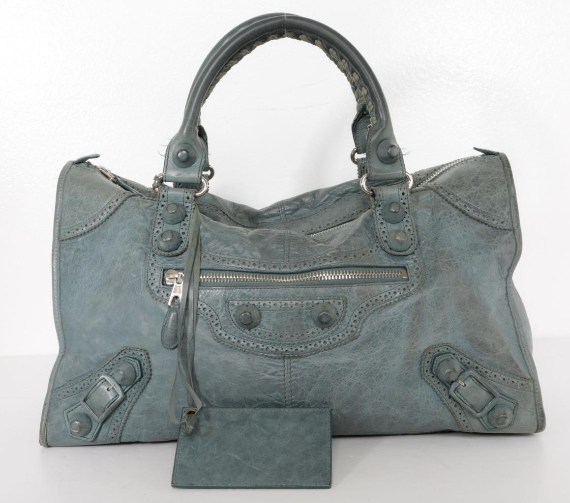 8b72947716 Blue-grey leather Balenciaga Motocross Giant Covered Work bag with  silver-tone hardware