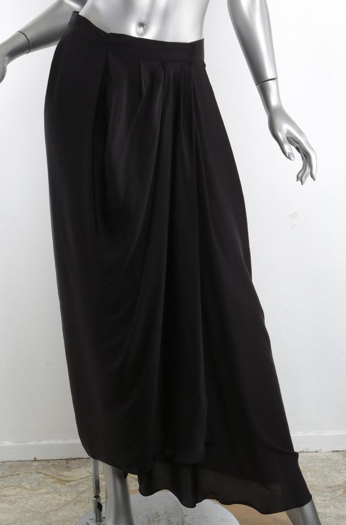 a3228290fc27 LANVIN LES 10 ANS Womens Navy / Black Silk Pleated Long Maxi Wrap ...