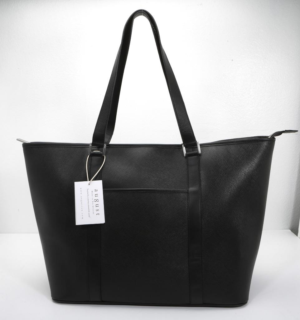 5f617a5454868c AUGUST Large Black Saffiano Leather Tote Bag Structured Shopper ...