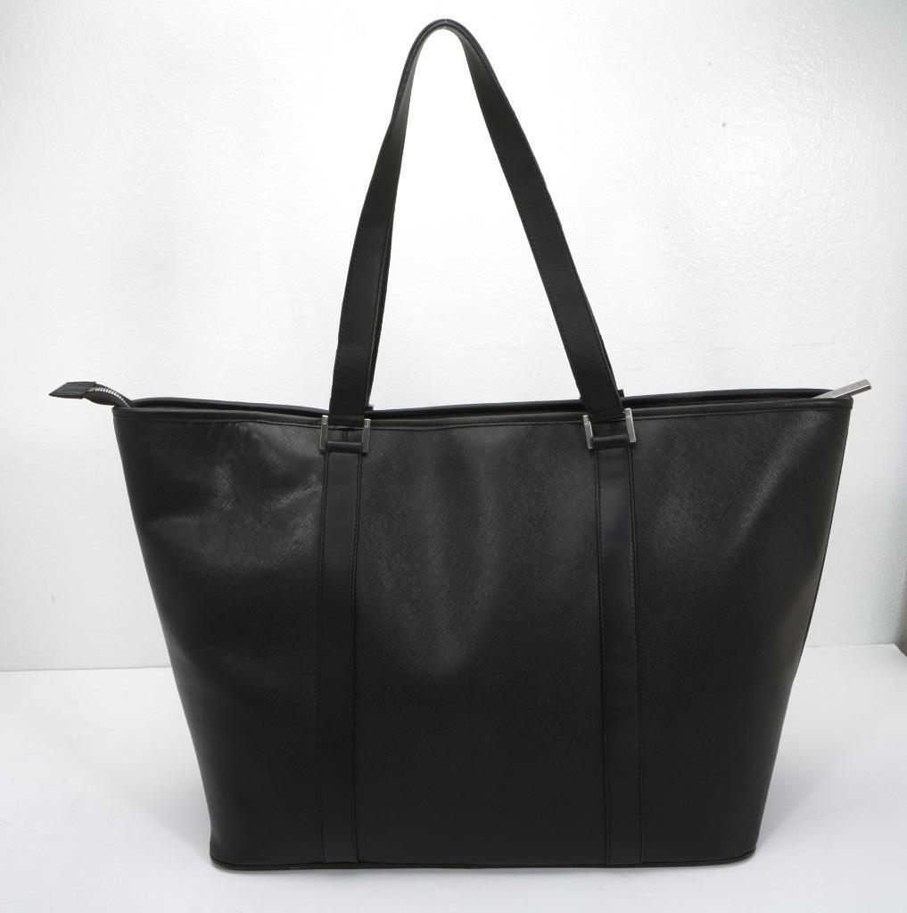 c679c8000fbe36 Details about AUGUST Large Black Saffiano Leather Tote Bag Structured  Shopper Handbag Purse