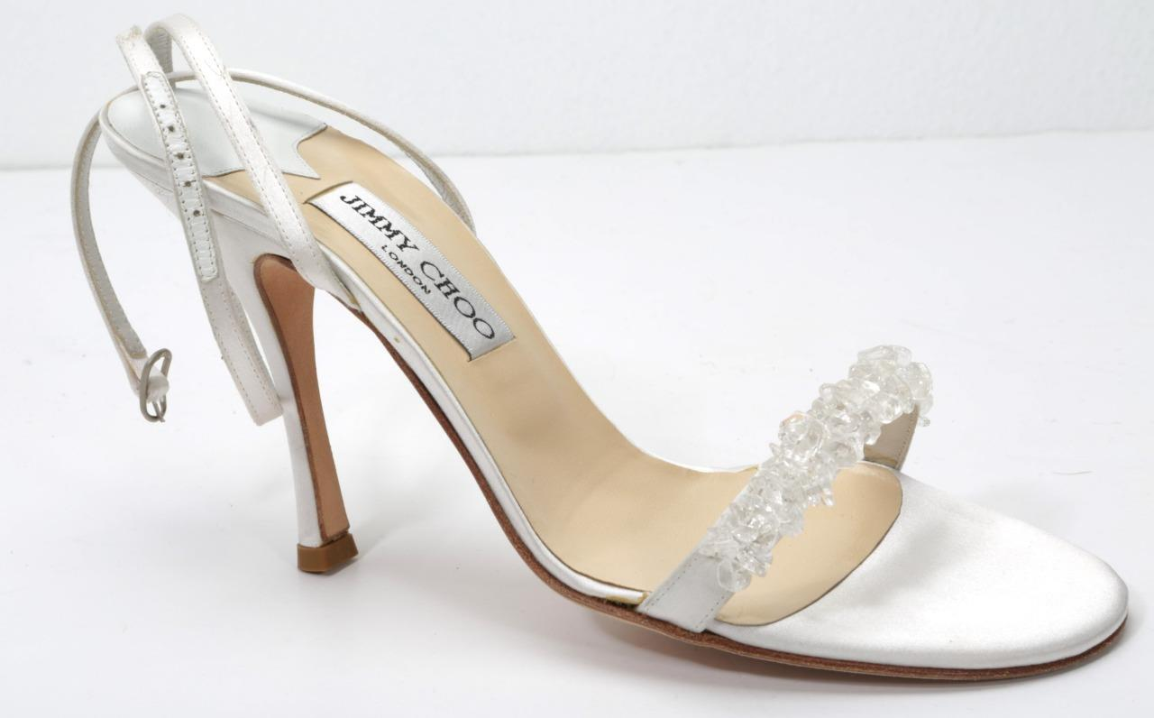 0e373d44227 Details about JIMMY CHOO White Satin High Heel Strappy Beaded Open-Toe  Sandal Pump Shoe 9-39