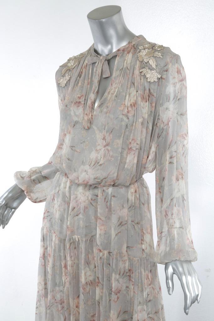 0f19cfc5af9e Details about ZIMMERMANN Pastel Floral STRANDED GARLAND Flowy Tiered Long  Dress 0/4 NEW