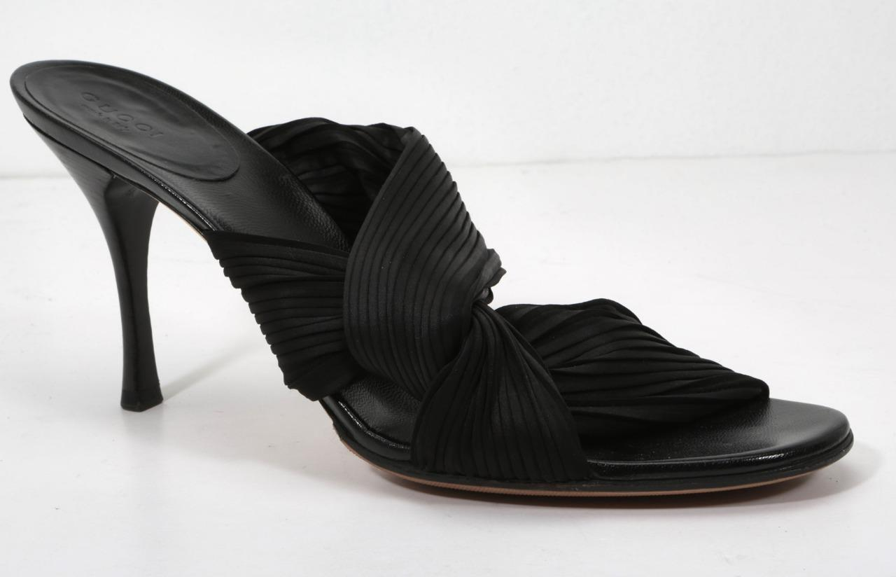 c7b80ee9d97 Details about GUCCI Womens Black Pleated Wrap Fabric Open Toe High Heel  Pumps Sandals 10.5 B