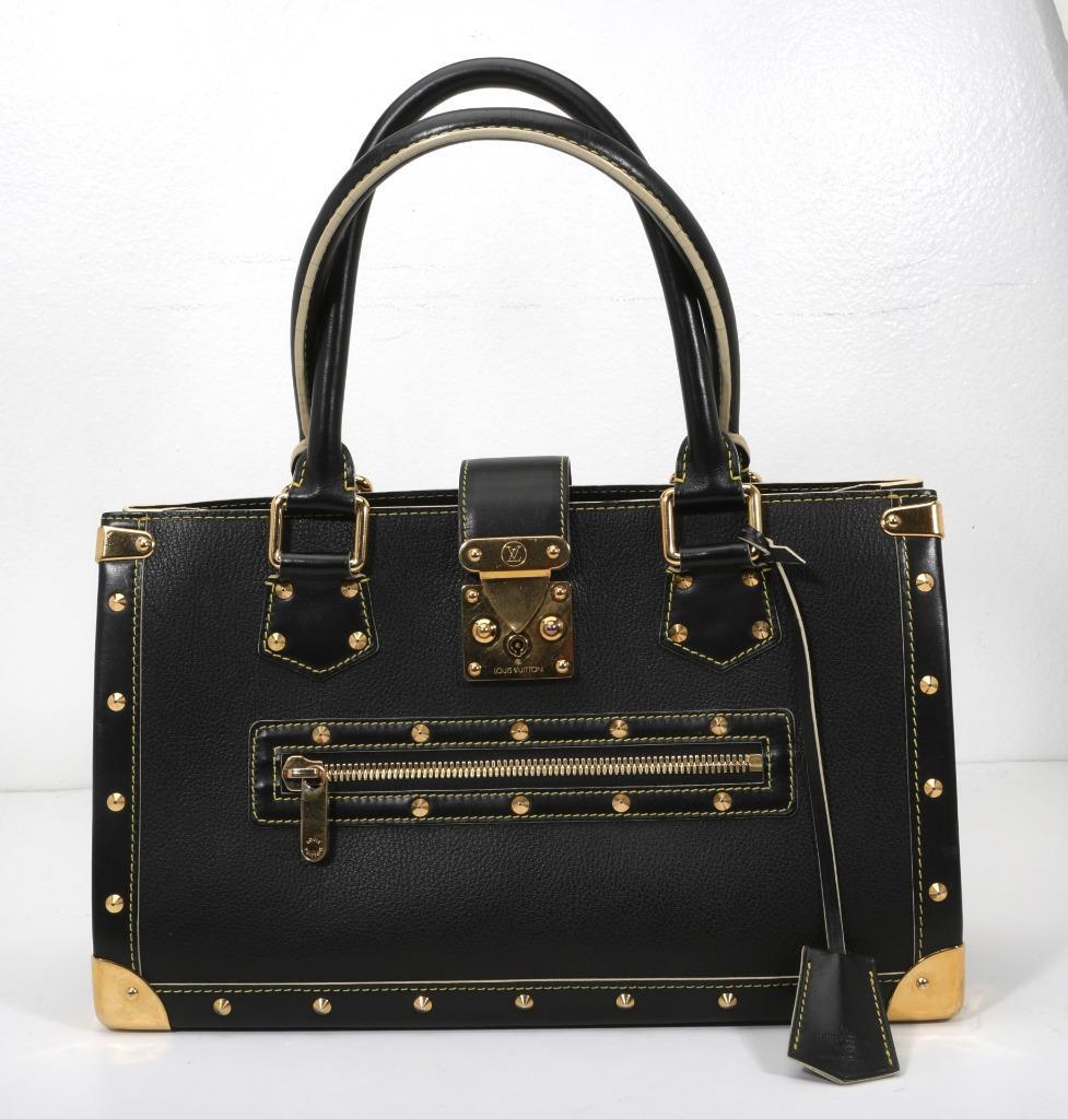 c13c26a5f Details about LOUIS VUITTON Black SUHALI Leather LE FABULEUX Gold-Studded Handbag  Purse Bag