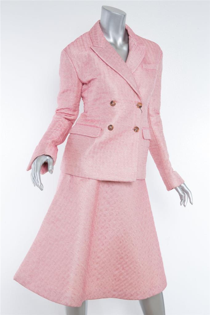 a271873d5a04 Details about MIU MIU Pink Textured Double-Breasted Blazer Jacket  Full-Skirt Suit Set 4-40 NEW
