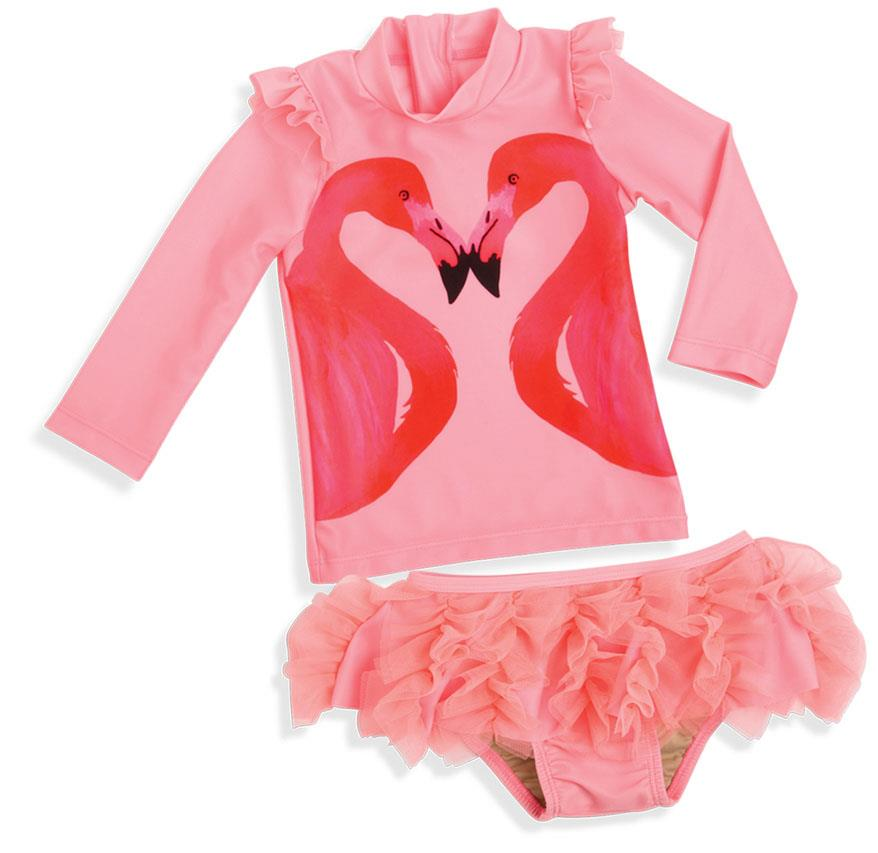 BNWT Girls Sz 3 Pretty Pastel Pink Short Sleeve Zip Front Rash Swim Suit UPF 50+