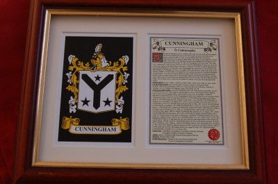 Cunningham Heraldic Framed Coat Of Arms Family Crest And